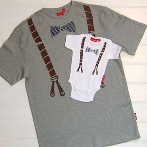 Dad And Child Bow Tie And Braces T Shirt /Babygrow Set - babies' dad & me sets