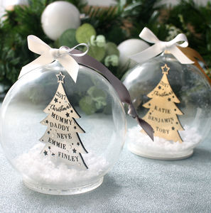 Metallic Family Christmas Tree Bauble - christmas decorations
