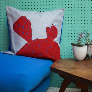 Hand Printed Spiky Red Cactus On Grey Cushion - cushions