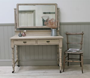 Distressed Antique Swivel Mirror Dressing Table - furniture