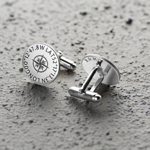 Personalised Sterling Silver Coordinates Cufflinks - 25th anniversary: silver
