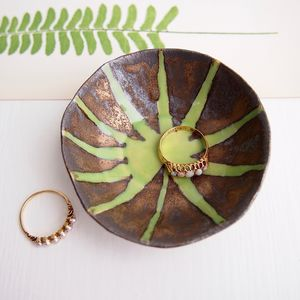 Handmade Gold Ceramic Ring Dish With Fern Leaf Design