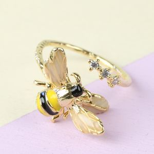 Adjustable Bumblebee And Crystal Ring - rings