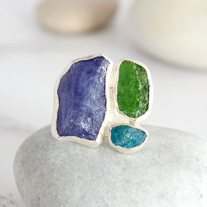 Apatite, Tanzanite And Chrome Diopside Statement Ring