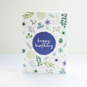 Blue Pressed Flowers Birthday Card