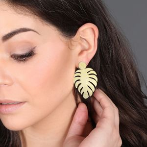 Brushed Gold Leaf Drop Earrings