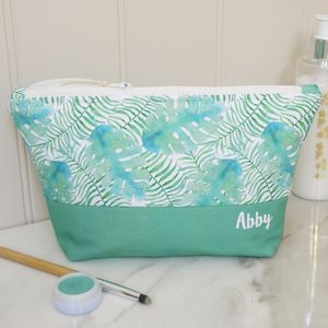 Personalised Tropical Design Make Up Bag