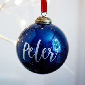 Glitter Navy Glass Personalised Bauble