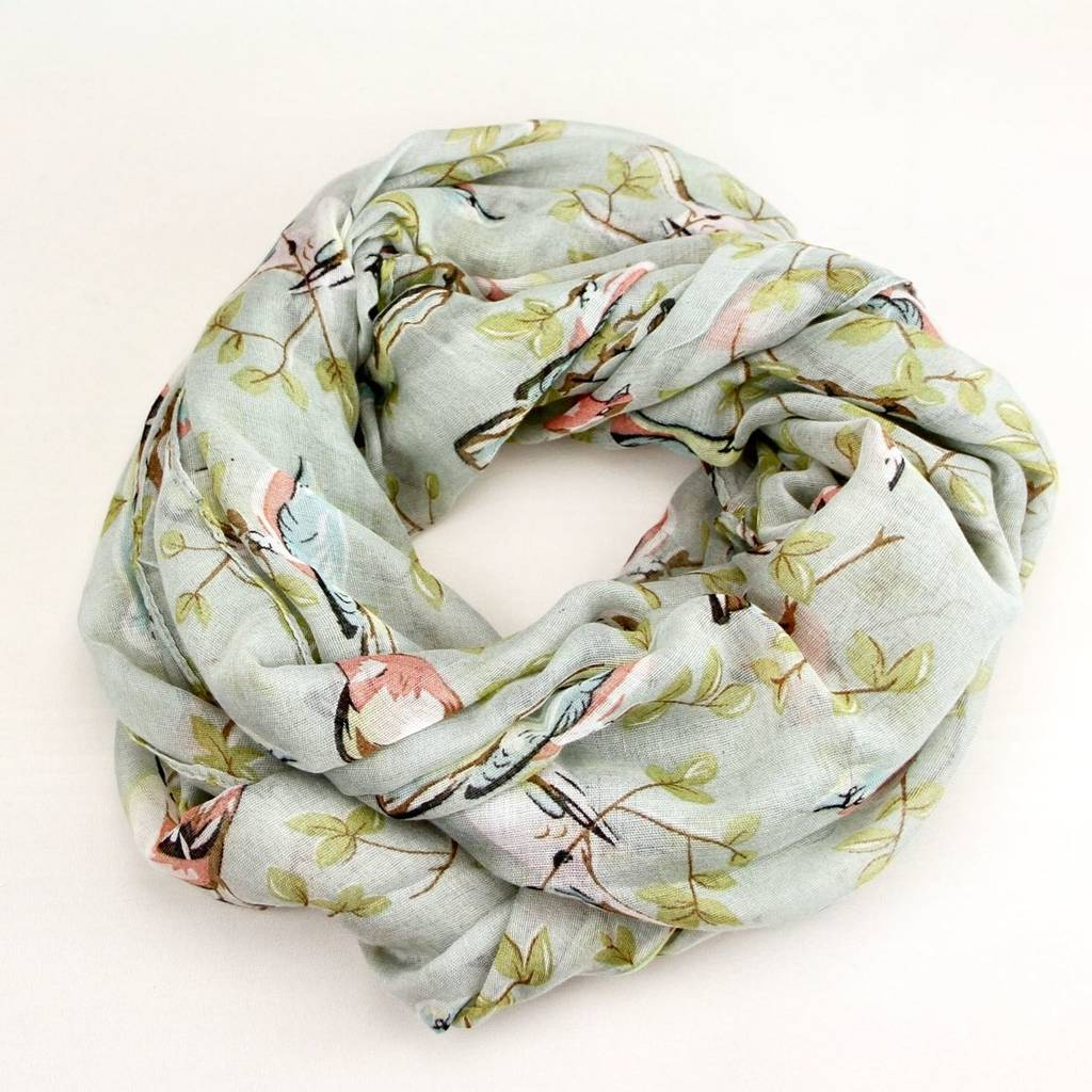 Birds And Leaves Soft Faded Scarf