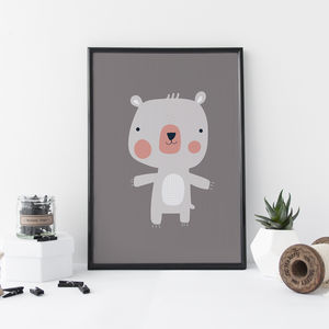Nursery Art Grey Bear - baby's room