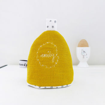 Personalised Linen Egg Cosy - Mustard Yellow