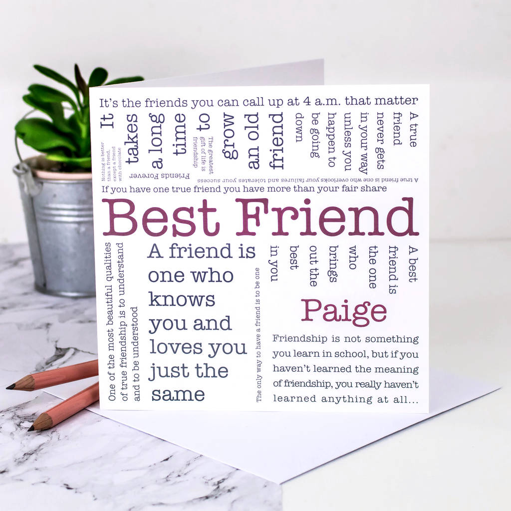 Wondrous Friendship Card Best Friend Quotes By Coulson Macleod Personalised Birthday Cards Veneteletsinfo