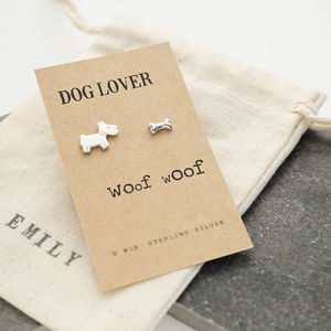 Dog Lover Silver Earrings - earrings
