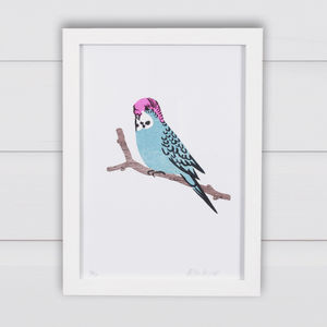 Blue Budgie Print - nursery pictures & prints