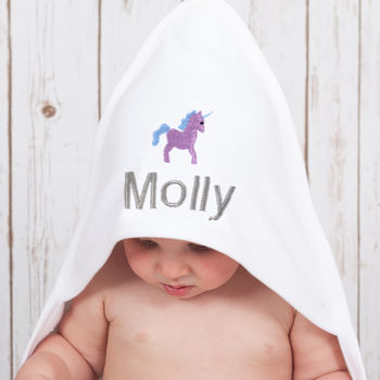 Personalised Unicorn Hooded Baby Towel