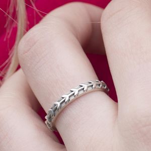 Sterling Silver Scandi Vine Leaf Ring