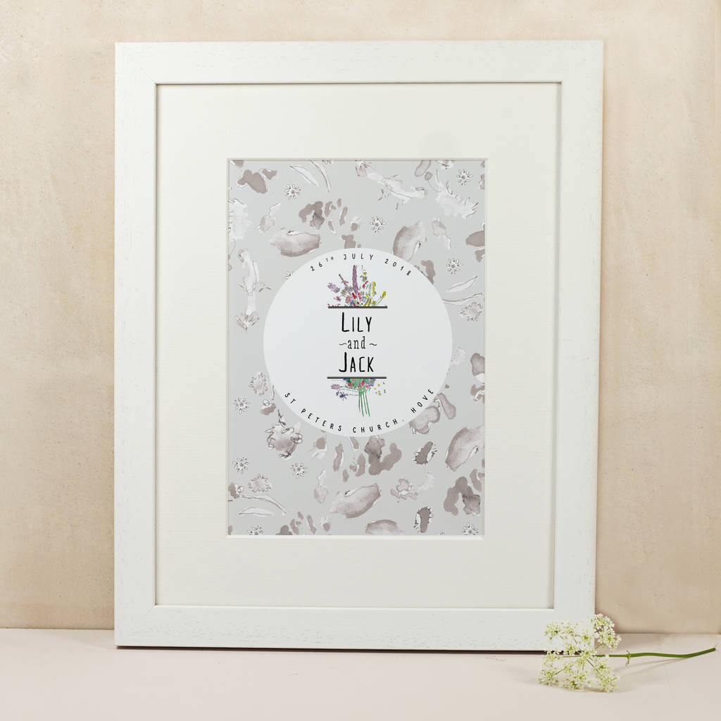 Personalised Wildflower Wedding Print