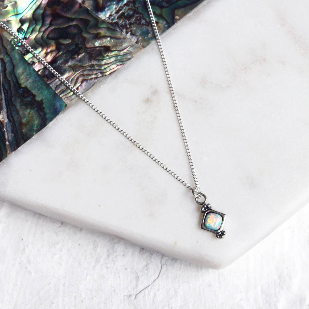 7b845b787d25a9 selena. white opal sterling silver pendant necklace by aluna mae ...