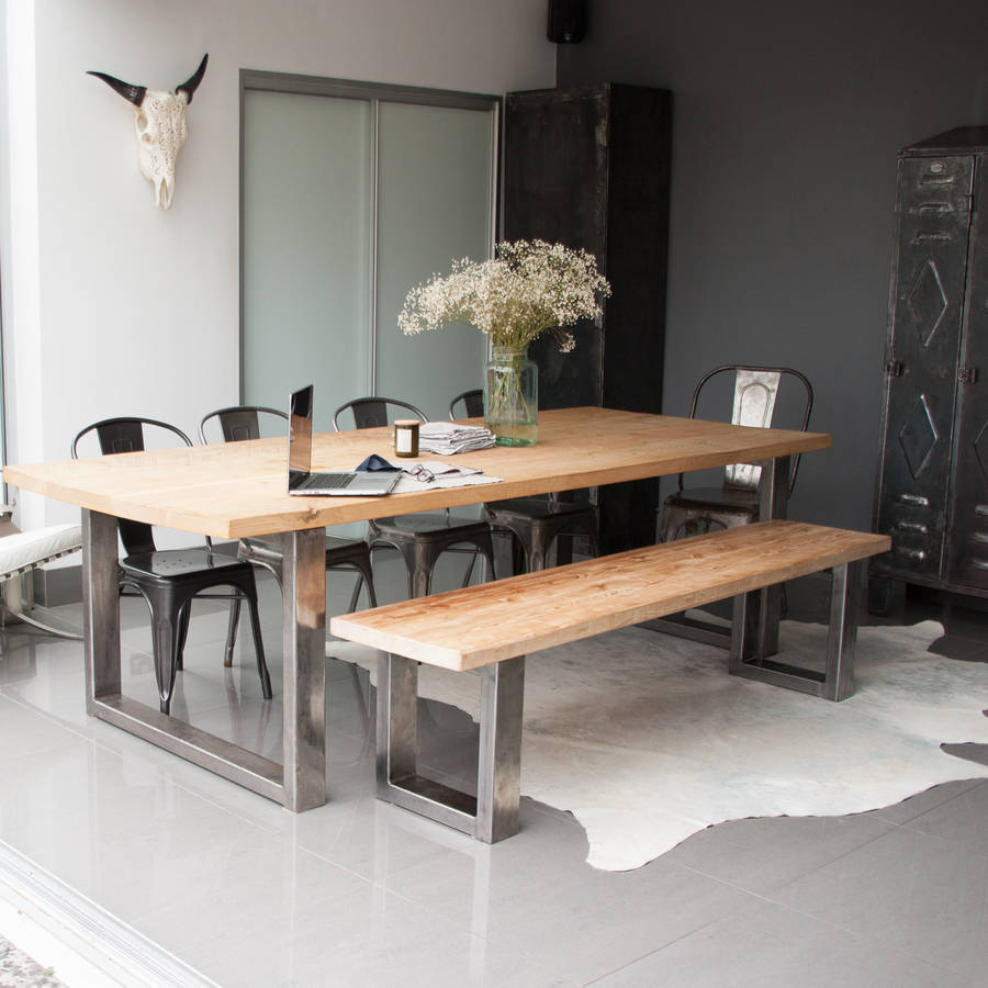 Dining Table With A Bench: Reclaimed Pine And Steel Dining Table, Bench And Chairs By