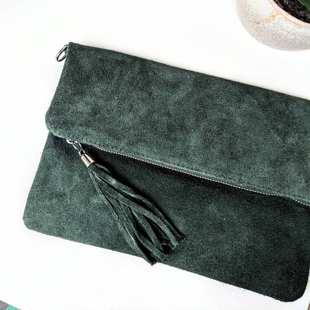 f22365b961 suede leather clutch bag by peastyle