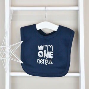 Personalised Navy 1st Birthday Bib