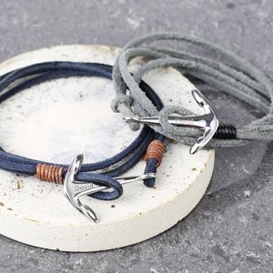 Men's Grey Cord Wrap Bracelet With Anchor Clasp Charm - gifts for him
