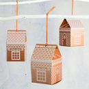 Set Of Five Gingerbread House Favour Decorations