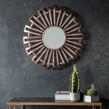 Curled Bronze Metal Sunburst Mirror