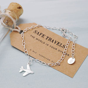 Personalised Airplane Travel Bracelet