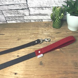 Red Harris Tweed And Waxed Cotton Lead - pet leads & harnesses
