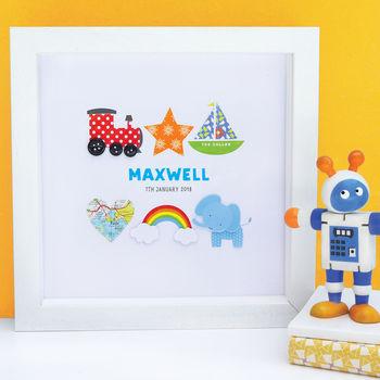 Personalised Baby Boy Keepsake Art Gift