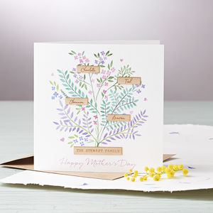 Personalised Floral Family Tree Mother's Day Card