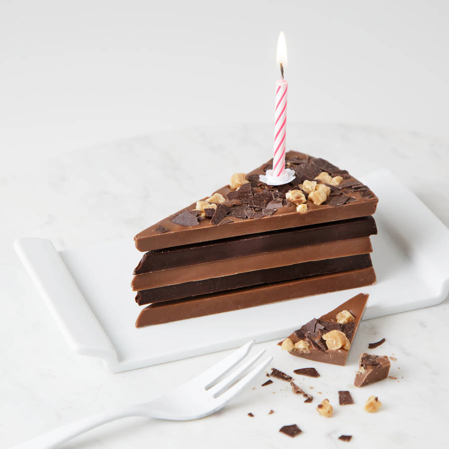 Milestone Birthday Chocolate Cake Slice With Candle By Quirky Gift