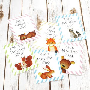 Woodland Cards For Baby Milestone Events