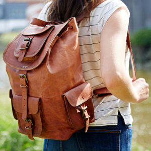 Personalised Large Brown Leather Rucksack