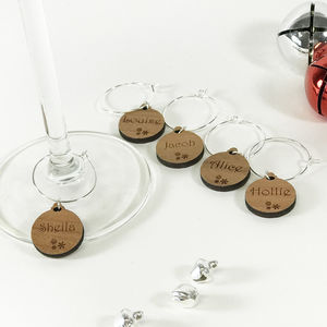 Five Personalised Christmas Bauble Wine Glass Charms