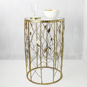 Round Antique Gold Leaf Side Table - new season furniture & lighting