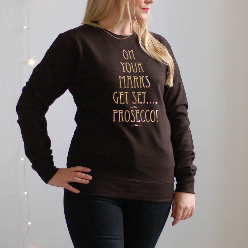 Prosecco Christmas Jumper On Your Marks