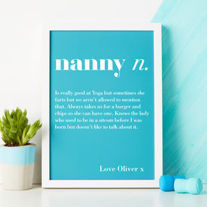 Personalised Grandparent Dictionary Print - gifts for grandparents