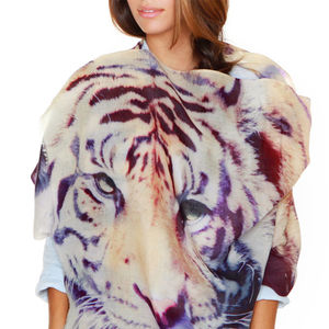 Womens Printed Cashmere Silk Scarf, Tiger - hats, scarves & gloves