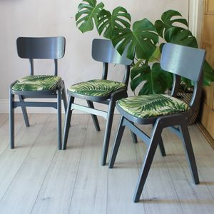 Retro Trio Of Kitchen Chairs - furniture