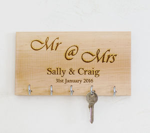Personalised Mr And Mrs Key Organiser - hooks, pegs & clips