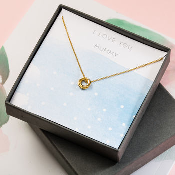 Love You Mummy Giftbox, with 'I Love You Mummy' & blue watercolour background, 9ct yellow gold plate russian ring pendant