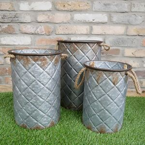Set Of Three Quilted Effect Metal Bucket Planters