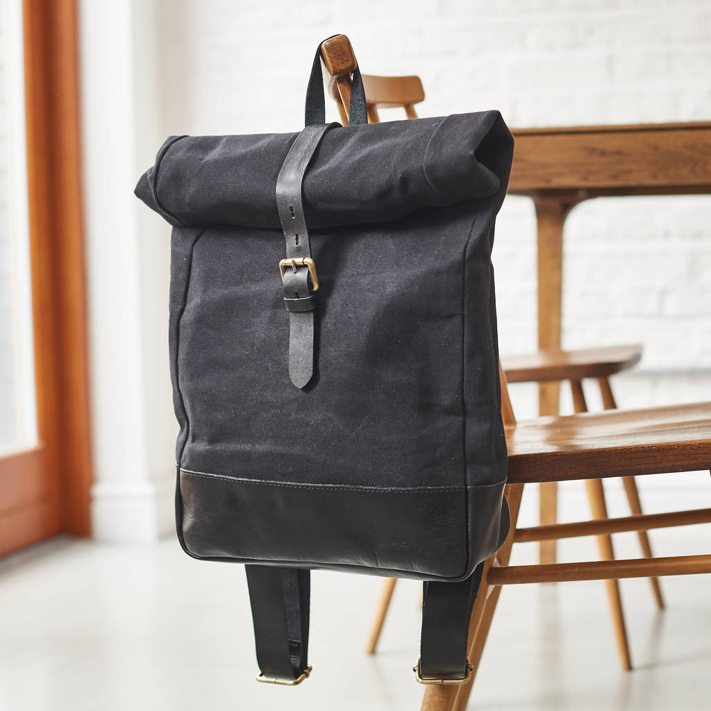 0ce03b455a2f canvas and leather rolltop backpack by vida vida ...