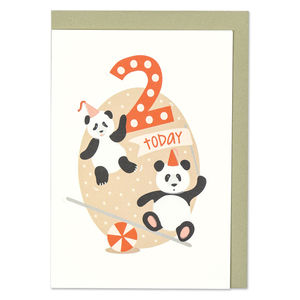 'Age Two' Panda Card - birthday cards