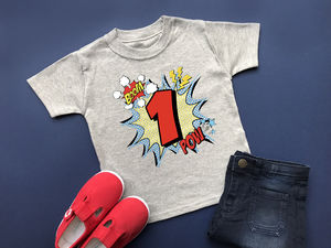 1st Birthday T Shirt, Comic Style