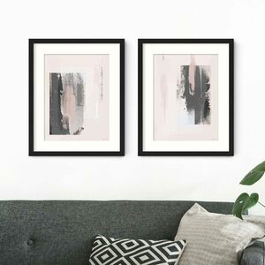 Pink And Grey Abstract Prints Set Of Two