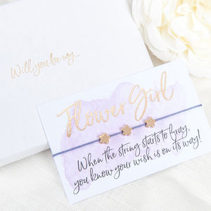 Will You Be My Flower Girl Gift Boxed Wish Bracelet - be my bridesmaid?