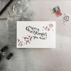Merry Christmas You Two Letterpress Christmas Card - shop by category